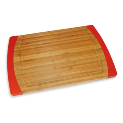 Bamboo Small Non-Slip Cutting Board in Red