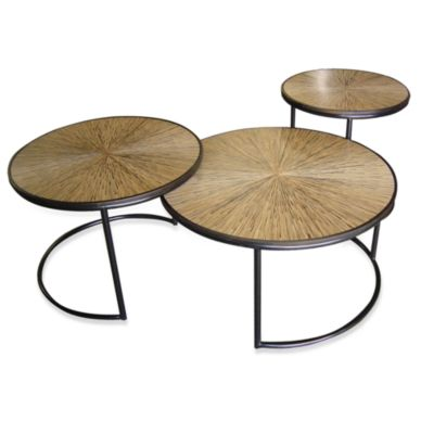Jeffan International Nesting Loma Cocktail Table with Sunburst Bamboo