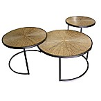 Jeffan International Nesting Loma Cocktail Table w/Sunburst Bamboo