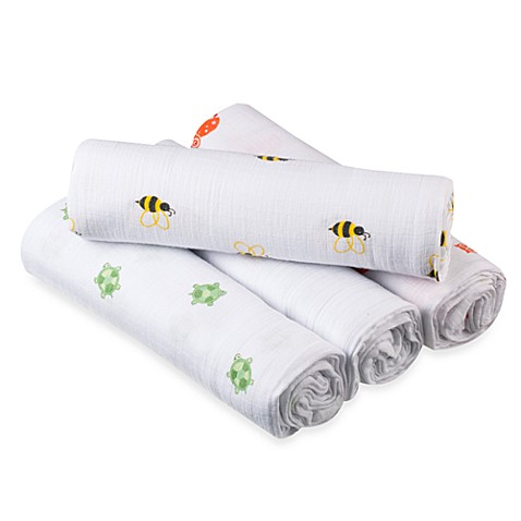 Swaddle Blankets > aden® by aden + anais® 4-Pack Muslin Swaddleplus® Blankets in Life's a Hoot