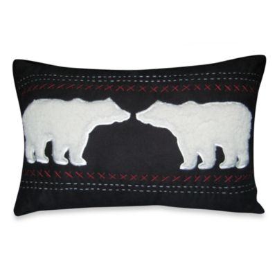 Mountain Retreat Oblong Bear Sherpa Toss Pillow