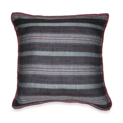 Mountain Retreat Square Black Stripe Toss Pillow