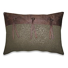 Prairie Stripe Faux-Leather Oblong Toss Pillow