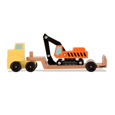 Melissa & Doug® Trailer & Excavator Wooden Vehicles Playset