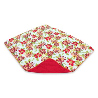Out & About Indoor/Outdoor Reversible Tropical Floral Travel Throw Blanket in Red