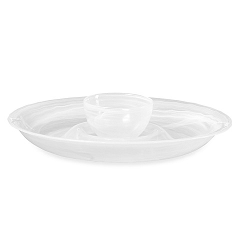 Mikasa® Swirl White 15-Inch Glass Chip and Dip Set