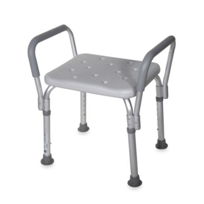 Drive Medical Bath Bench with Padded Arms in White