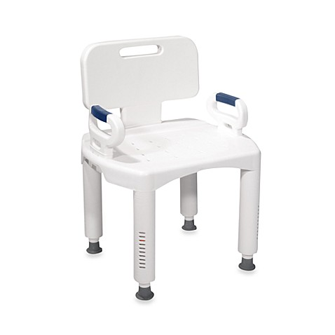 Drive Medical Bath Bench with Back and Arms in White