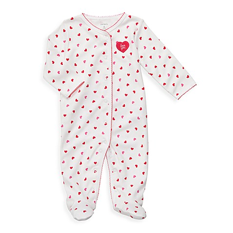 Carter's White Heart Print 1-Piece Cotton Footie - Newborn