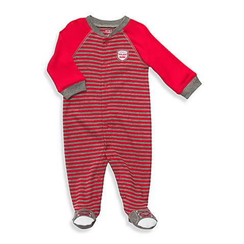 Carter's® Size Newborn 1-Piece Cotton Footie in Grey/Red Stripe