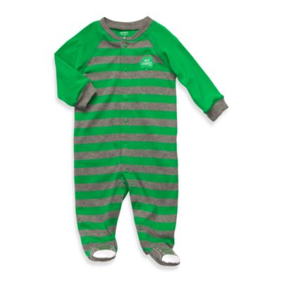 Carter's® Grey-Green Stripe 1-Piece Cotton Footie