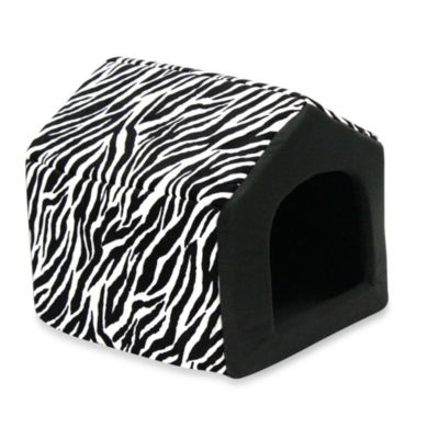 Best Friends by Sheri Medium Convertible Pet House in Baby Zebra Black