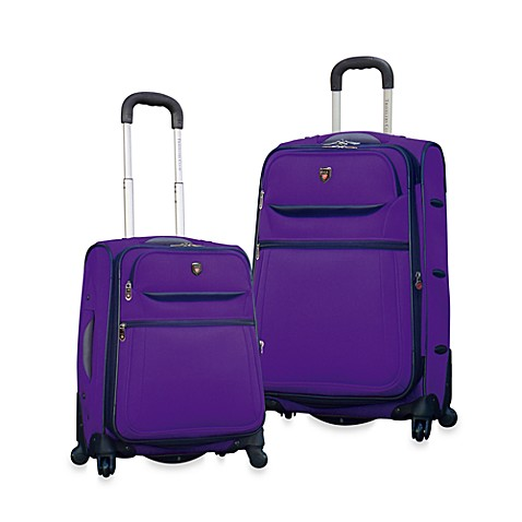 Traveler's Club Expandable Purple 4-Wheel Luggage