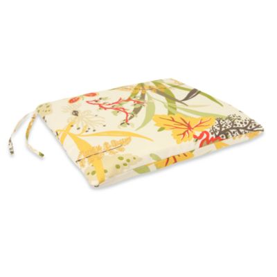 Outdoor Seat Pad Cushion in Fishbowl Seaweed