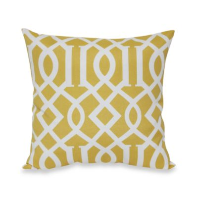 20-Inch Square Toss Pillow in Yellow Trellis