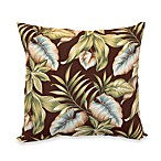 Outdoor 20-Inch Welt Cord Pillow in Brown Leaf