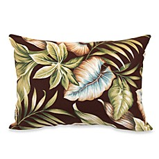 Outdoor Rectangle Knife Edge Pillow in Brown Leaf