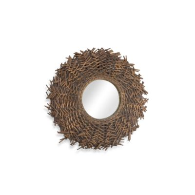 Sandra Round Rattan Mirror in Small