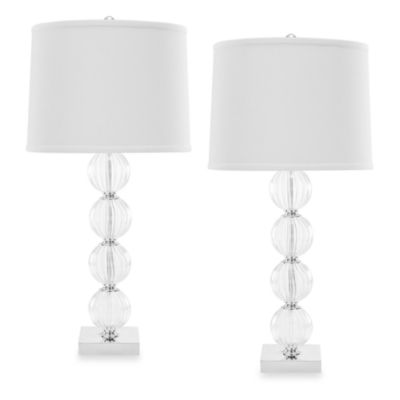 Amanda White Glass Globe Table Lamps (Set of 2)