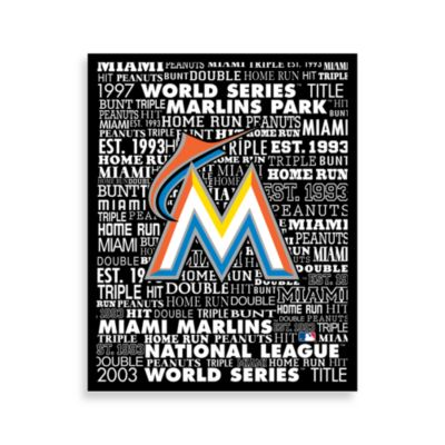 Miami Marlins Typography Canvas Art