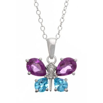 Badgley Mischka® Be-Loved Sterling Silver w/AmethystWhite Topaz & Blue Topaz Butterfly Pendant