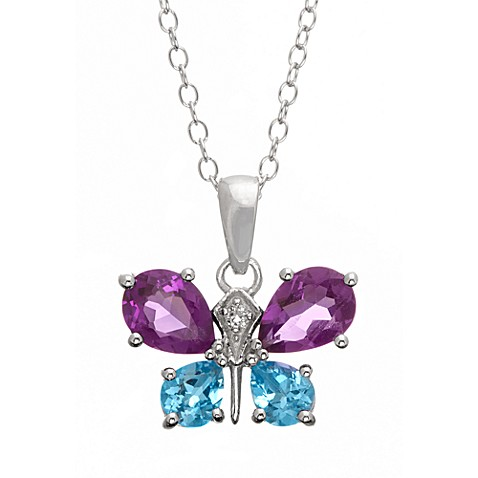 Badgley Mischka® Be-Loved Sterling Silver w/AmethystWhite Topaz & Blue Topaz Butterfly Pendant