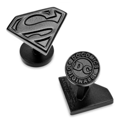 Black Enamel Superman Shield Cufflinks