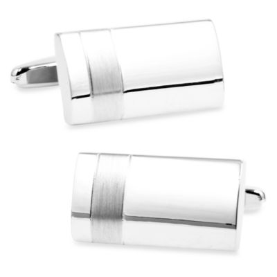Silver Tonal Rectangle Cufflinks