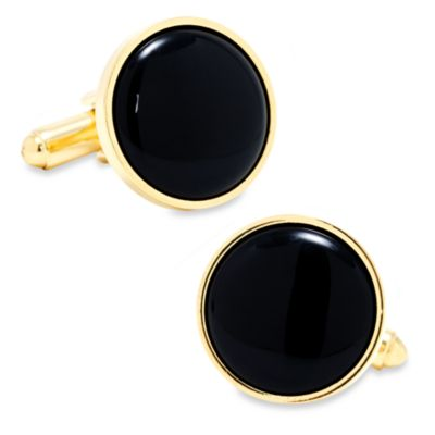 Ox anda Bull Trading Co. Gold and Onyx Cufflinks