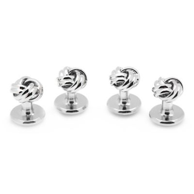 Silver Knot Studs (Set of 4)