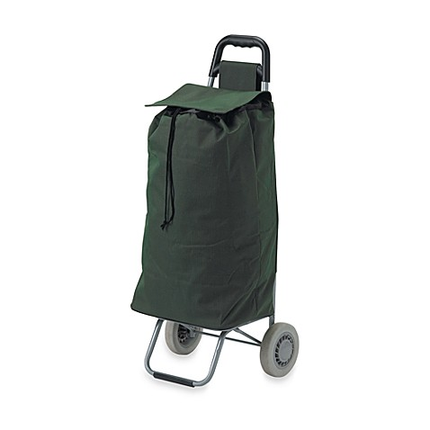 Drive Medical Lifestyle Essentials Rolling Shopping Cart with Canvas Bag in Green