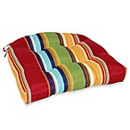 3.5-Inch Thick Tufted Cushion with Ties in Bright Stripe