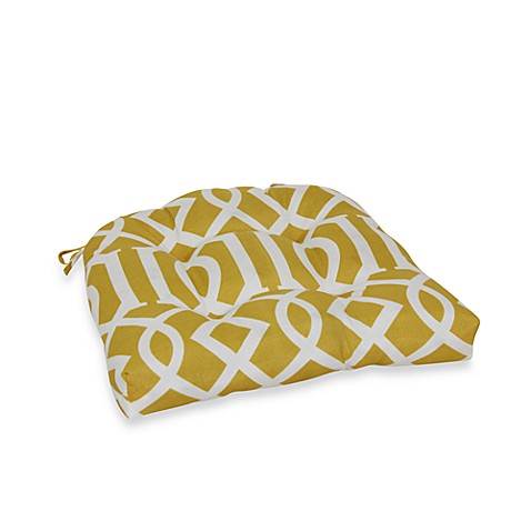 3.5-Inch Thick Tufted Cushion with Ties in Yellow Trellis