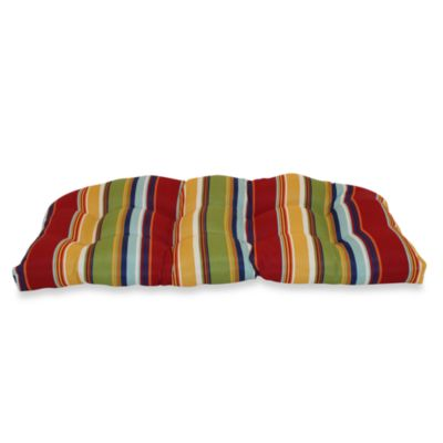 Outdoor Bench Cushion in Bright Stripe