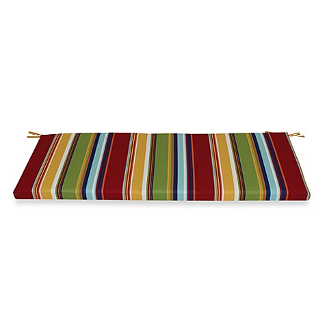 Bench Cushion with Ties in Bright Stripe