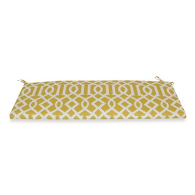 Bench Cushion with Ties in Yellow Trellis