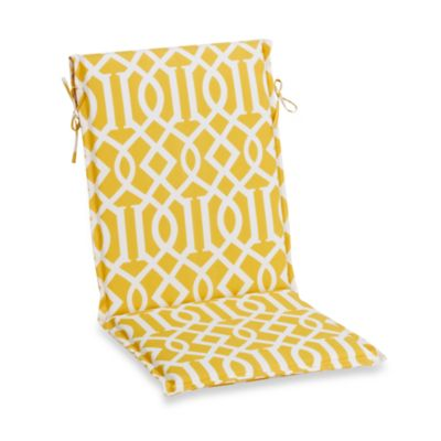 Outdoor Sling Back Chair Cushion in Yellow Trellis