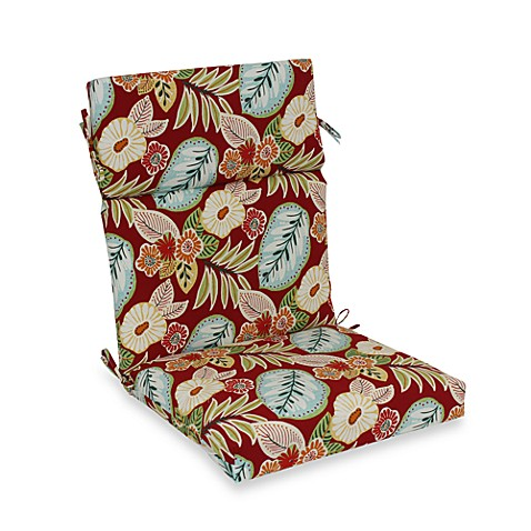 Outdoor High-Back Chair Cushion in Floral
