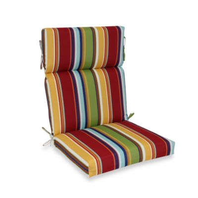 High-Back Cushion with Ties in Bright Stripe
