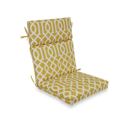 High-Back Cushion with Ties in Yellow Trellis