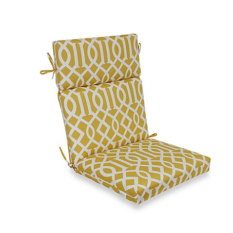 High Back Cushion With Ties In Yellow Trellis Bed Bath