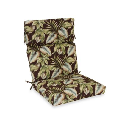 Outdoor High-Back Chair Cushion in Brown Leaf