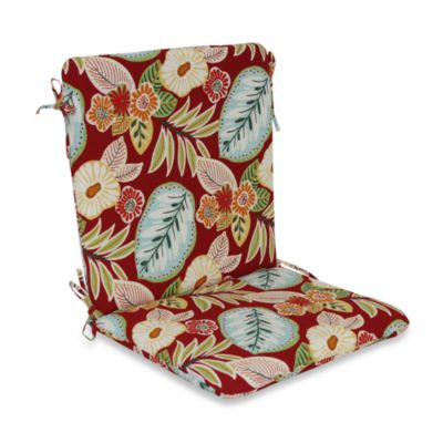 Outdoor Mid-Back Chair Cushion in Floral