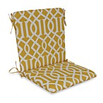 Mid-Back Cushion with Ties in Yellow Trellis