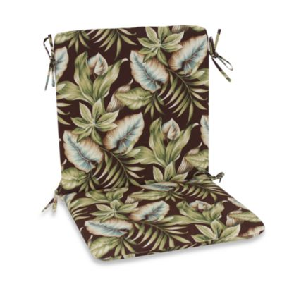 Outdoor Mid-Back Chair Cushion in Brown Leaf