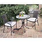 Home Styles Black & Tan 3-Piece Tile Top Bistro Set