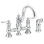 Moen® Waterhill 2-Handled 14-Inch Chrome Kitchen Faucet With Side Spray