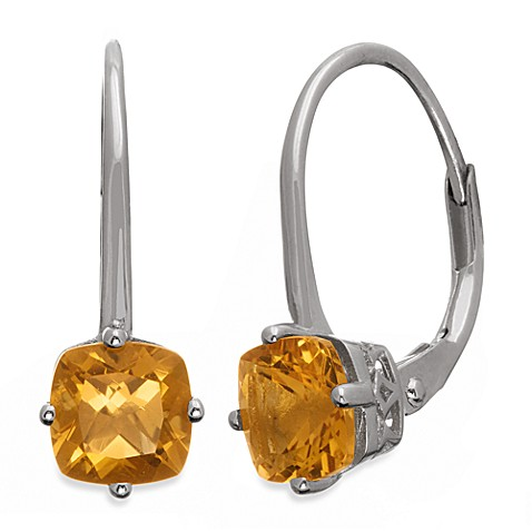 Badgley Mischka® The New Classics Sterling Silver w/Gemstone Drop Dangle Earrings in Citrine