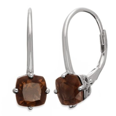 Badgley Mischka® The New Classics Sterling Silver Gemstone Drop Dangle Earrings in Smokey Quartz