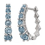 Badgley Mischka® The New Classics Sterling Silver w/Blue Topaz Hoop Earrings